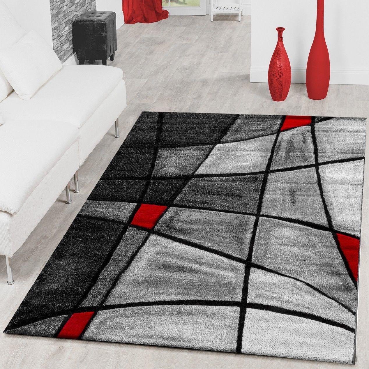 Teppiche Wohnzimmer Teppich Porto Mit Konturenschnitt In Grau Rot
