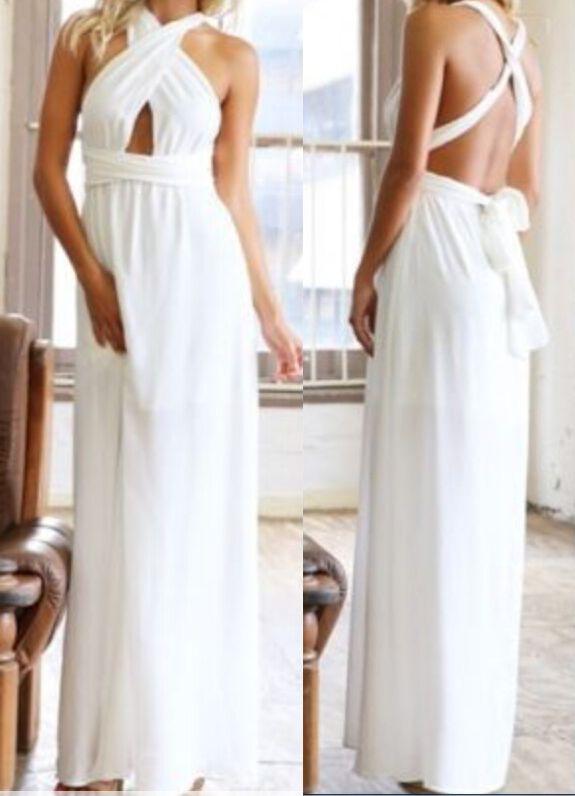 White Halter Cross Strap Maxi Dress | Fashion | Pinterest