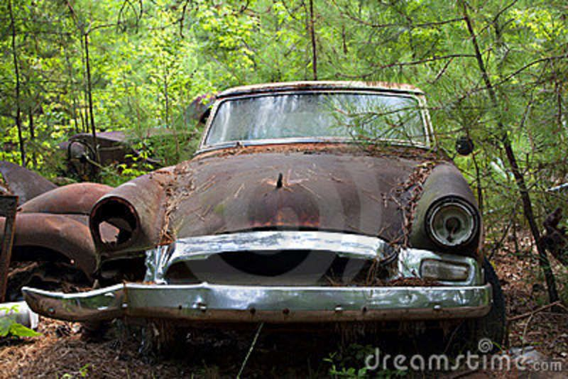 Wrecked Cars In Trees Junk Yard Car In Trees And Weeds Stock