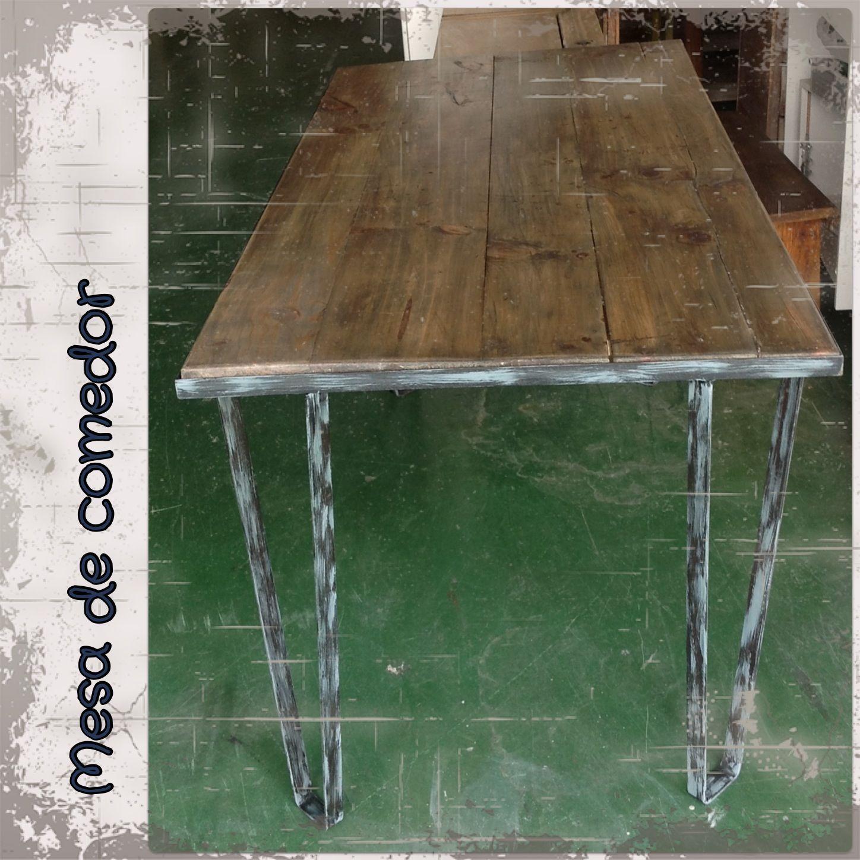 Mesa De Comedor Con Madera Recuperada Recercada En Hierro Pintado  # Muebles Pipa Aguirre