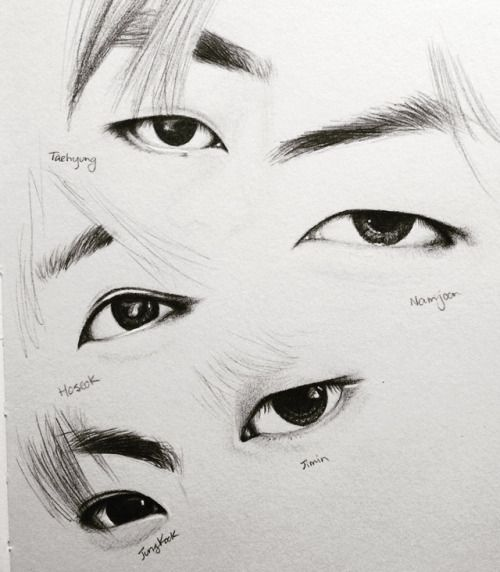 This Is Incredibly Impressive I Want To Draw Like This One Day Nonono A Good Tip A Heard Someone Say To That Is To Stri Bts Drawings Eye Drawing Bts Eyes