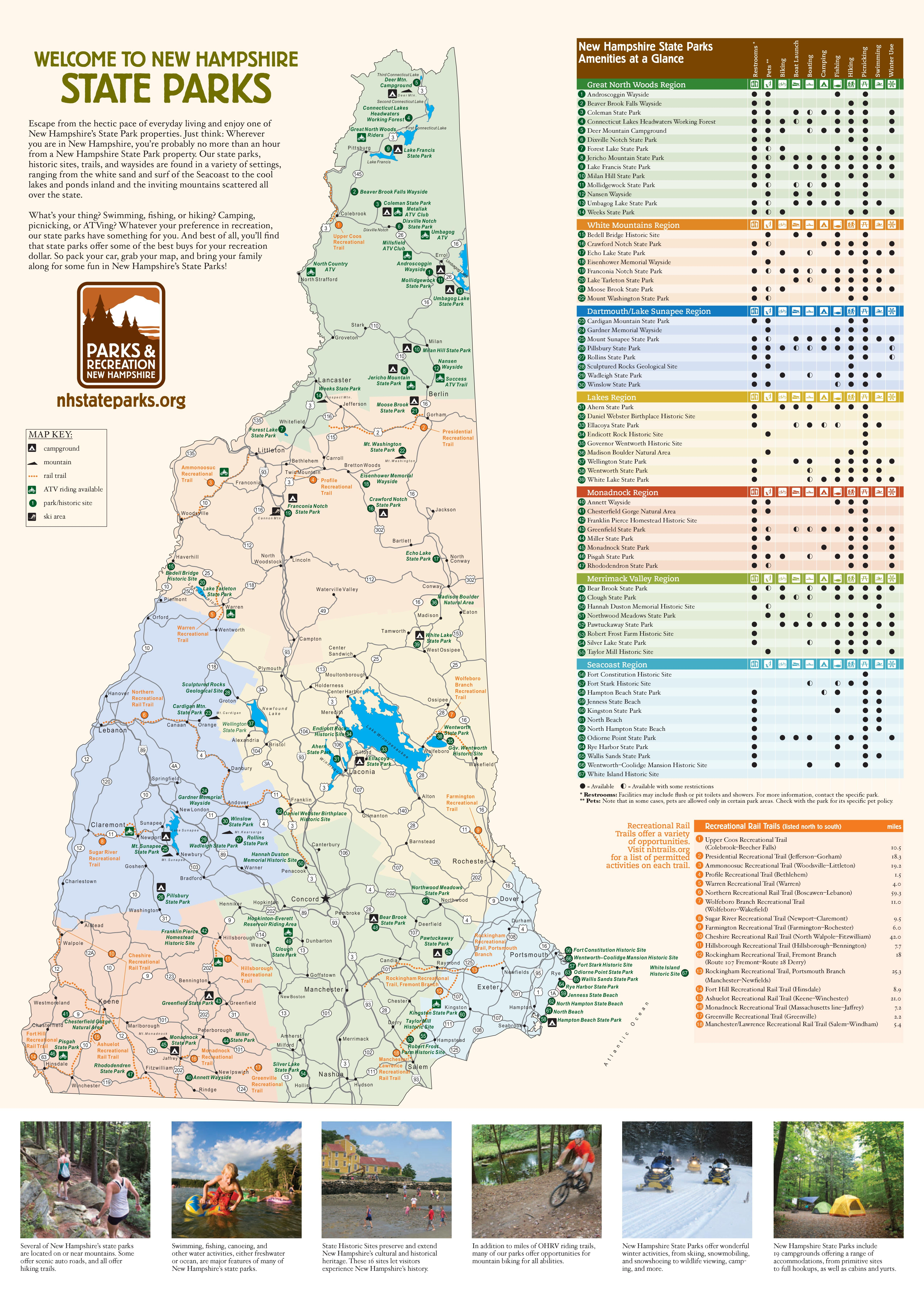 State Park and Rail Trail Maps of New Hampshire Recreation Maps