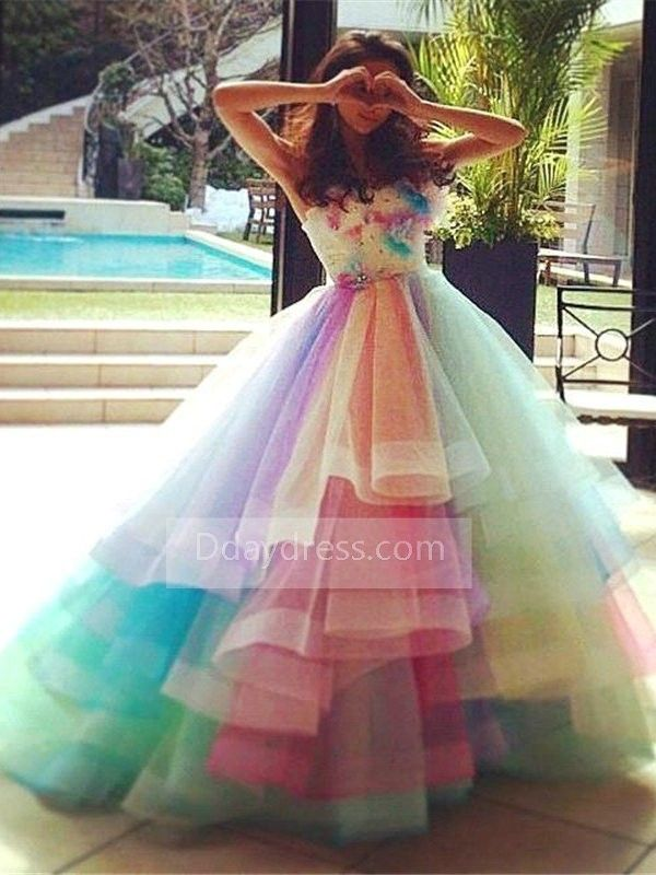 6c94d41cb328b Ombre Floral Organza Rainbow Puffy Strapless Ball Gown Princess ...