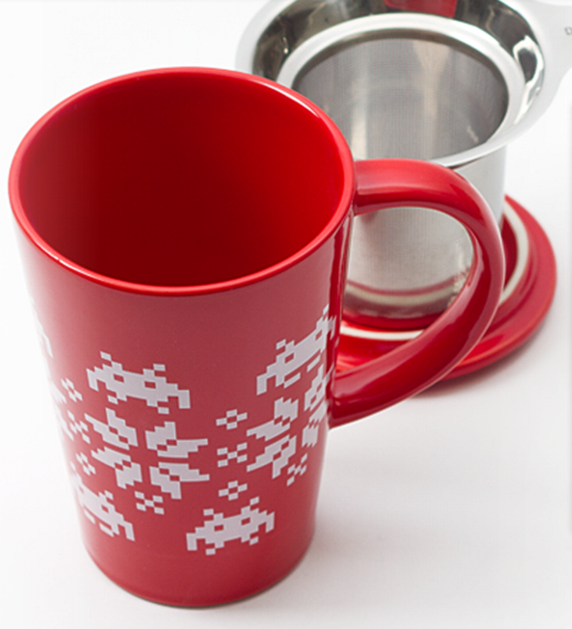 Space Invaders and Snowflakes Mug by DAVIDsTEA The