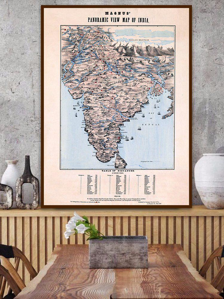 Antique India Map Magnus Panoramic View Map Of India 1856 Old