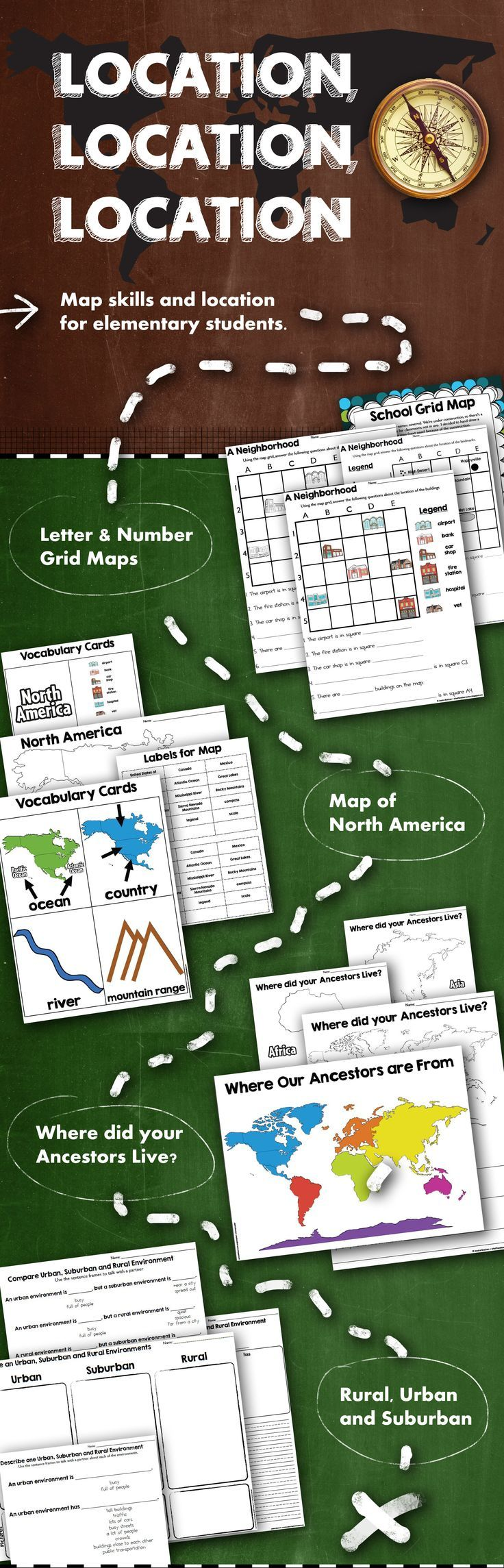Map Skills   Location  Social Studies Unit    Map skills  Elementary     Learn map skills in elementary school      Letter   Number Grid Maps  for the