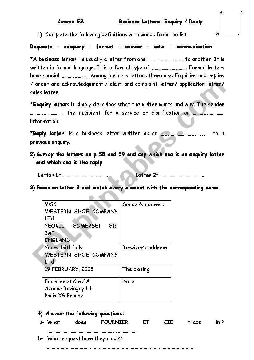 Lesson E3 Business Letters ESL worksheet by zizouette