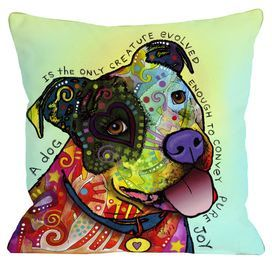 """Showcasing a vibrant dog portrait and text detail, this plush pillow pays homage to your favorite four-legged friend.   Product: PillowConstruction Material: 100% Premium polyester cover and polyester fillColor: MultiFeatures:  Insert includedSewn closureDigitally printed Dimensions: 18"""" x 18"""" Cleaning and Care: Spot clean only"""