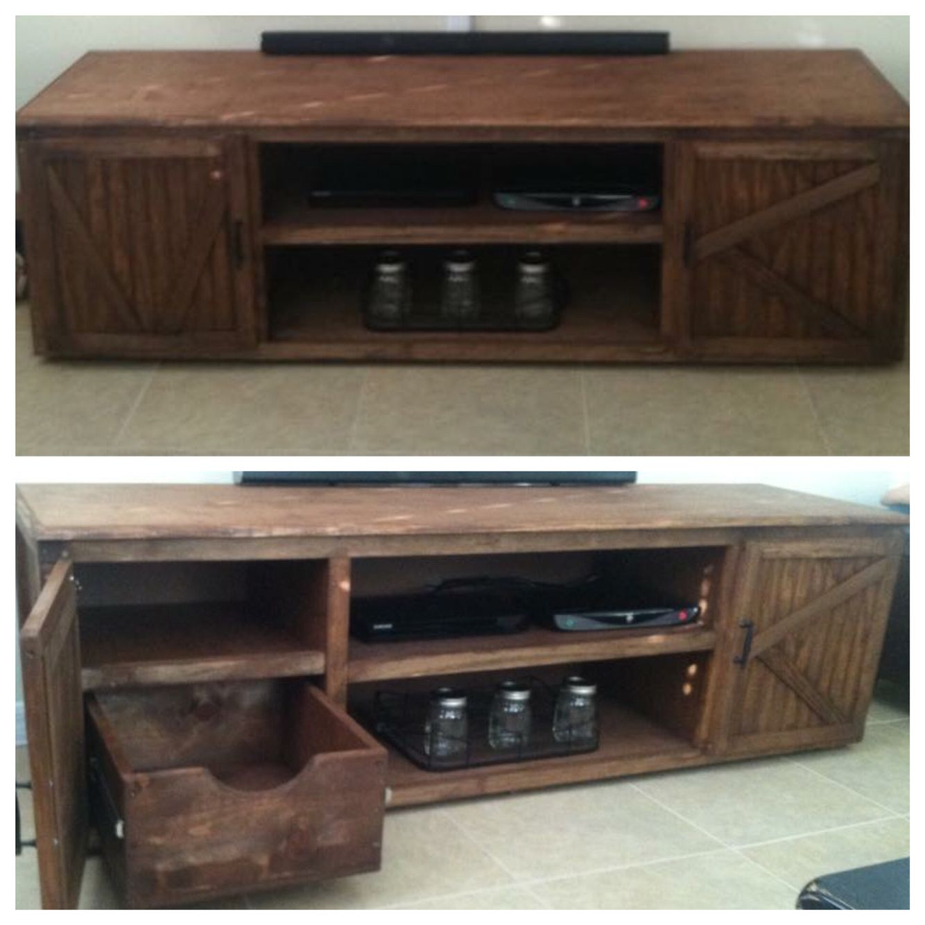 Custom Tv Cabinet Entertainment Center With Pull Out Drawers Behind Doors
