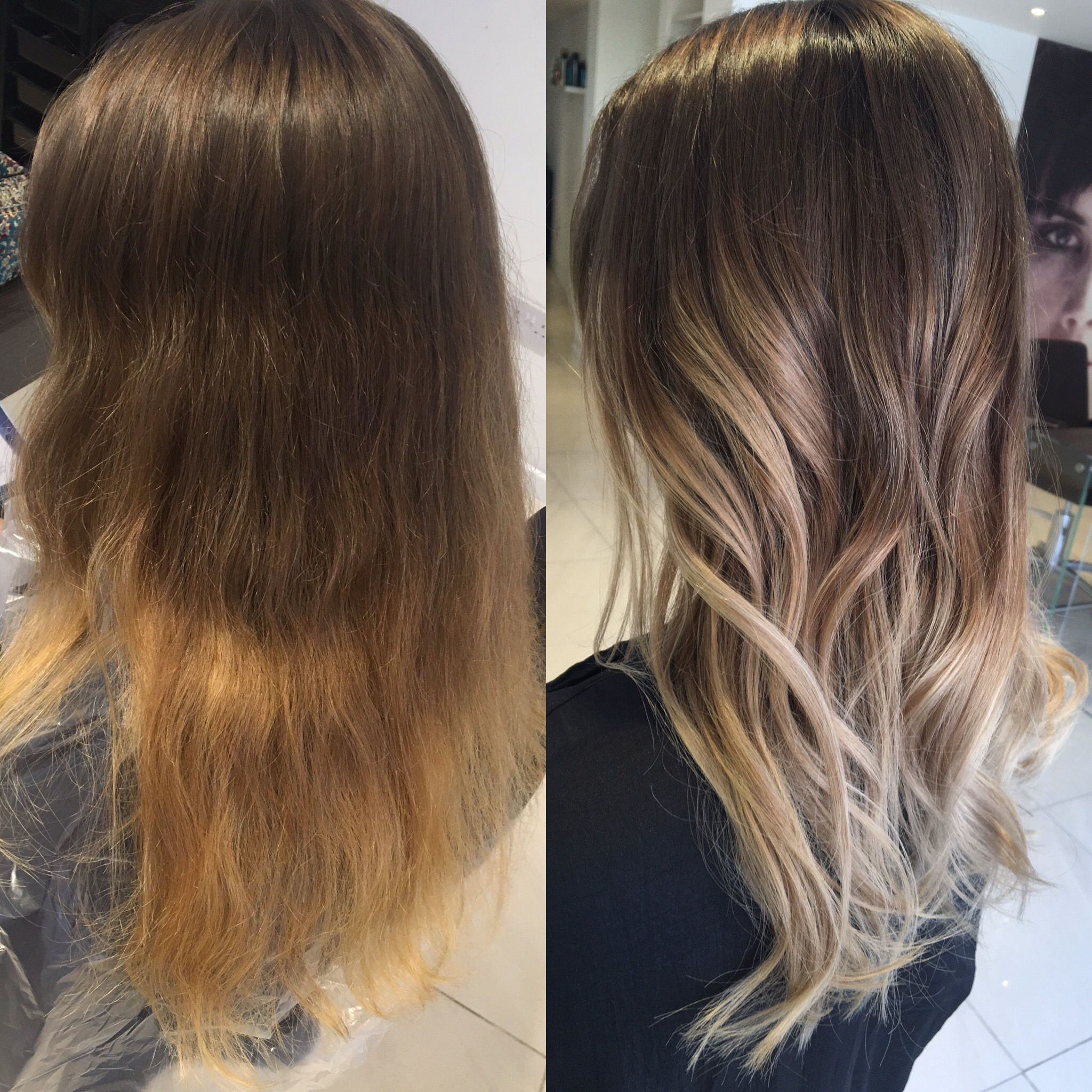 Ash Balayage Ombré Before And After Kolor Włosy