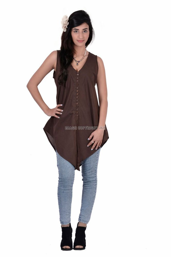 women brown color cotton sleevless girls indian top for
