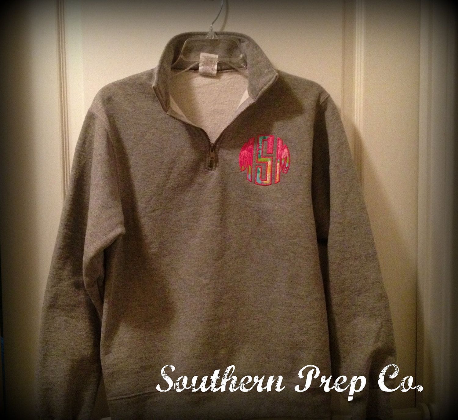 Circle Applique' Monogrammed Ladies QUARTER ZIP PULLOVER. $40.00, via Etsy.  color: grey  size: small  fabric choice: aqua/pink damask, water lilly, may flowers  thread color: you choose want soooo bad!!