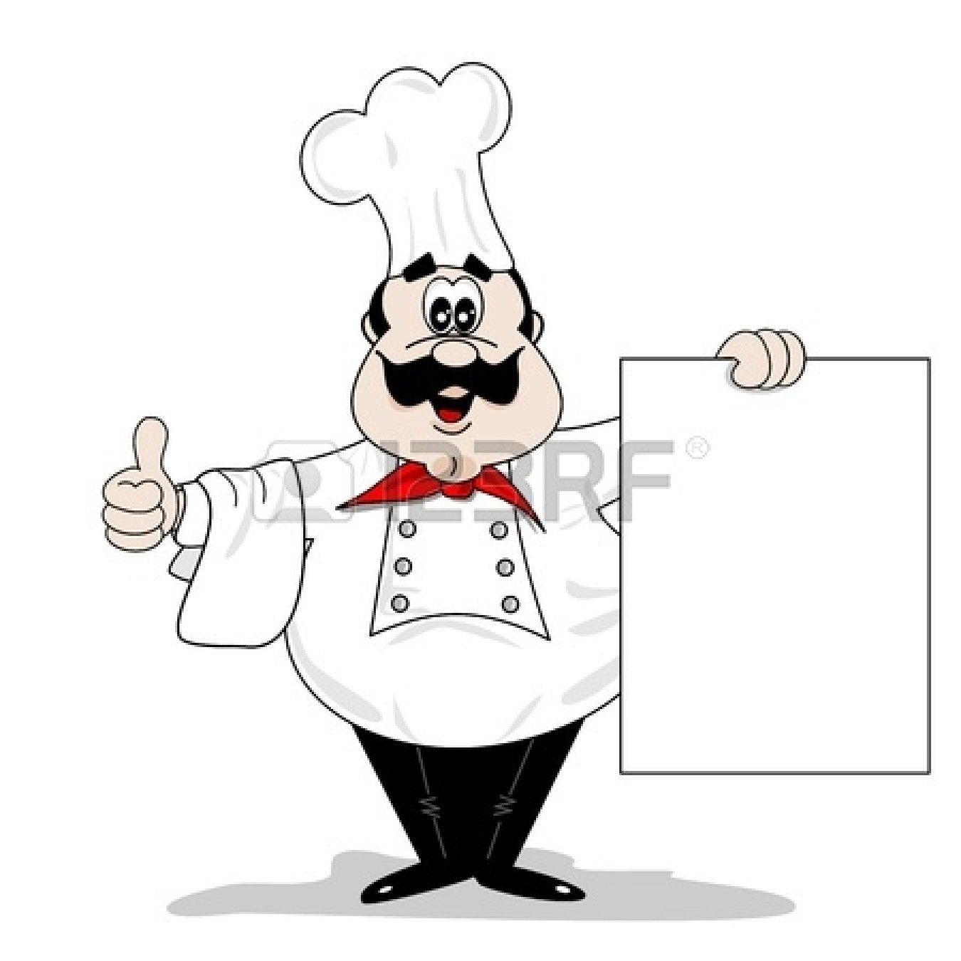 cartoon chef cook with blank recipe menu board | cartoon chefs