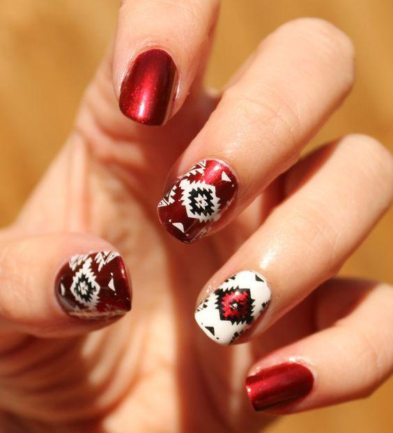 native american inspired nail art #nailartdesigns #abstractnailartdesigns - Native American Inspired Nail Art #nailartdesigns