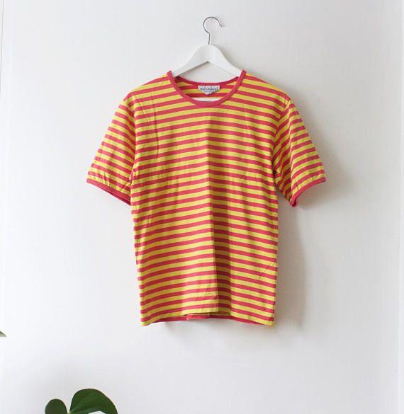 fcd0dfc66 Vintage Marimekko Women's Striped T-Shirt // Yellow Pink ...