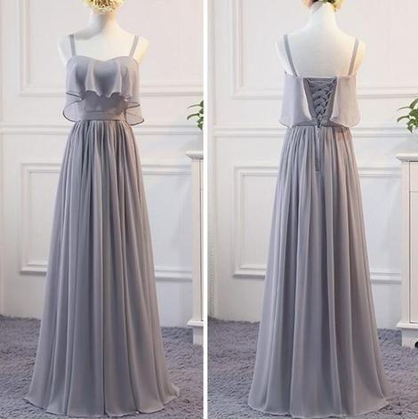 Grey Chiffon Simple Straps Floor Length Bridesmaid Dress, Beautiful Bridesmaid Dress, Party Dress