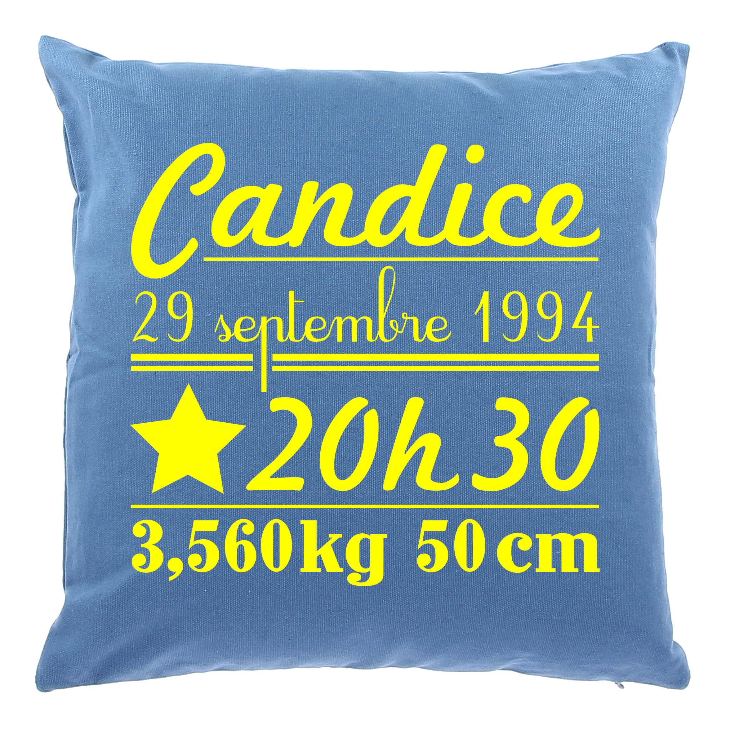 Coussin naissance Grand mod¨le by Matao Bleu personnalisation