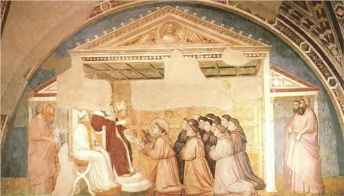 Confirmation of the Rule - Giotto. 1325. Fresco. 280 x 450 cm. Bardi Chapel, Santa Croce, Florence, Italy.