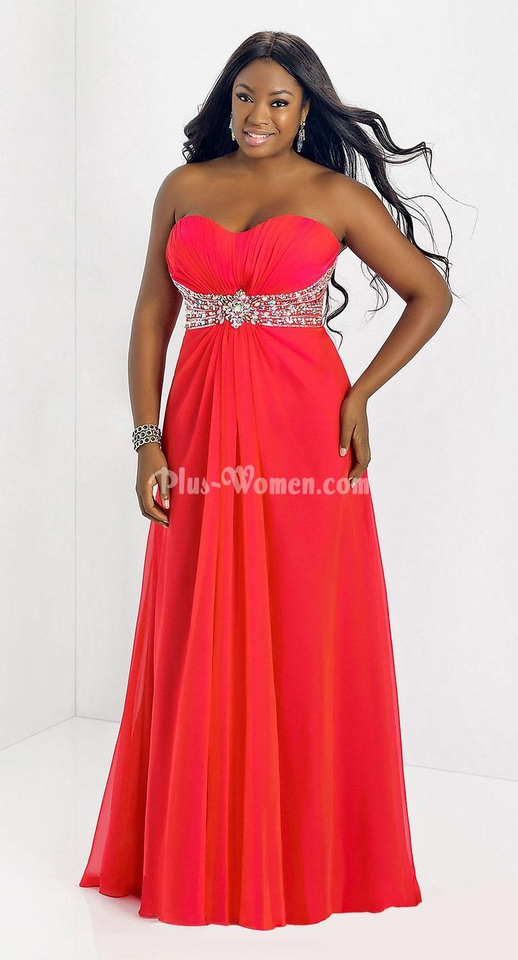 Strapless sweetheart beaded empire long plus size prom dress prom