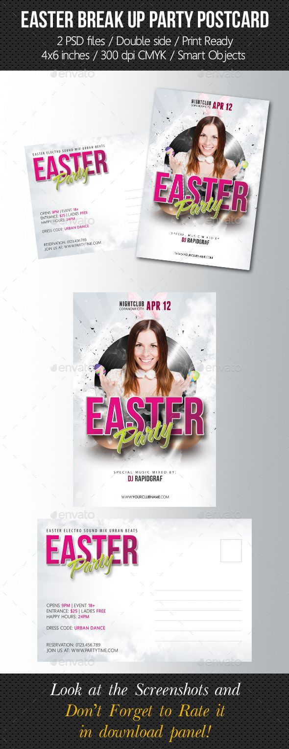 Easter Party Postcard Template  Postcard Template Easter Party