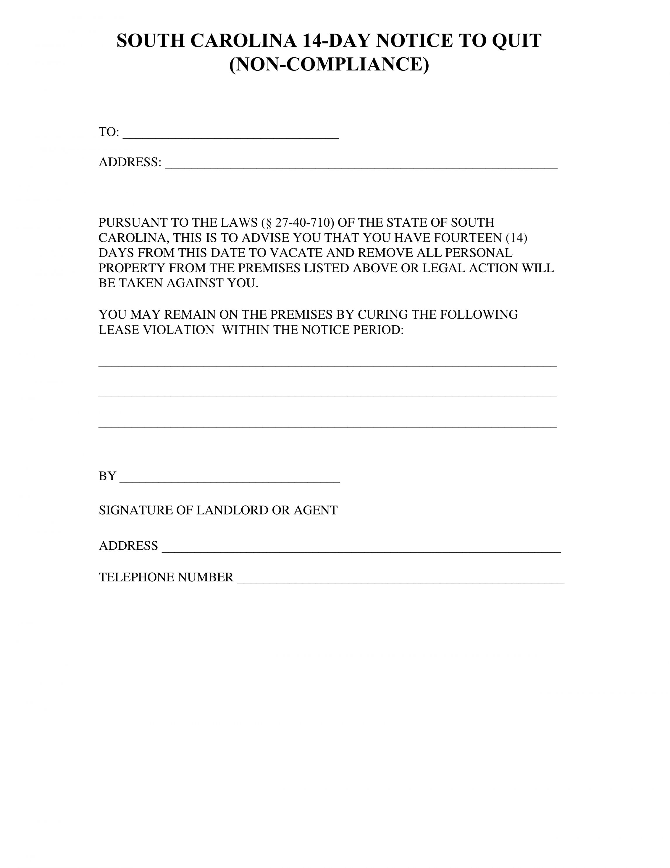 Get Our Printable Sc Eviction Notice Template Eviction Notice Templates Invoice Template