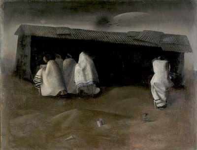 Camp Synagogue, 1941,  Felix Nussbaum 1904 - 1944, Oil on wood, 49,8 x 64,8 cm,