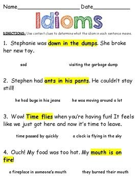 Idioms Worksheet | Context clues, Worksheets and Sentences