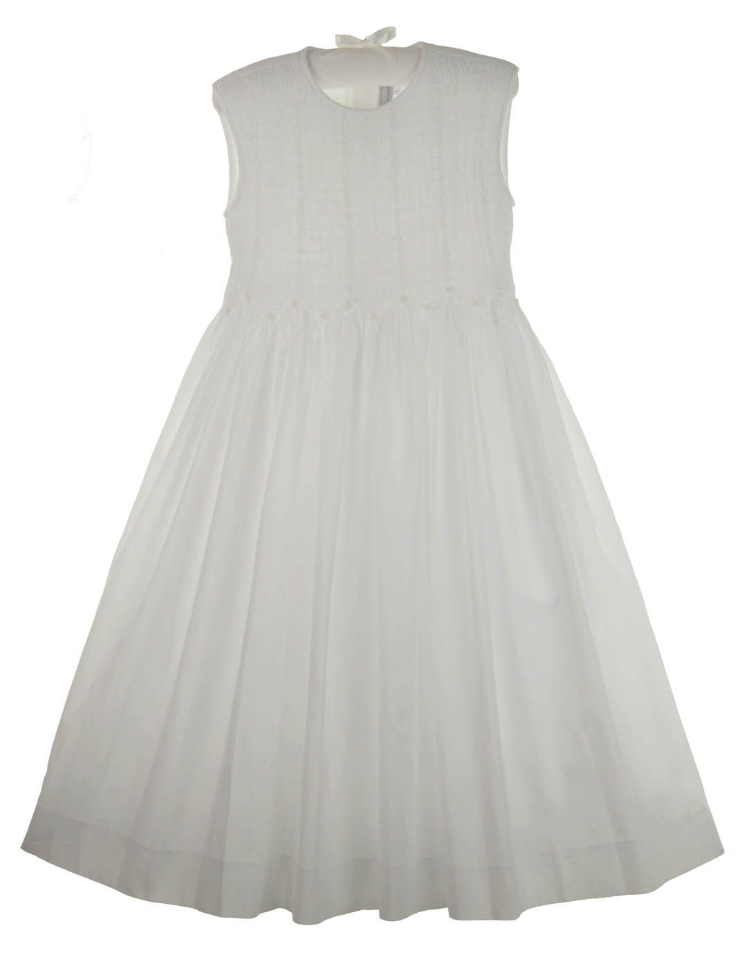 9e38cea50f5 NEW Fantaisie Kids White Cotton Lawn Smocked Sleeveless Dress with  Embroidery  80.00  FirstCommunionDress