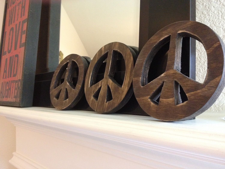 6 12 Inch Rustic Wooden Peace Sign Peace Emblem Peace Symbol