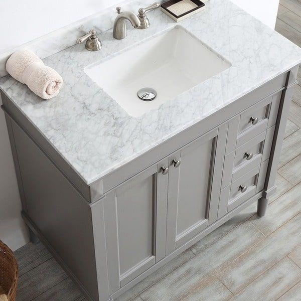 Catania Grey White Carrara Marble Top 36 Inch Single Vanity Bathroom Vanity Marble Vanity Tops Single Bathroom Vanity