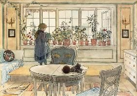 Carl Larsson - Flowers on the Windowsill, from 'A Home' series