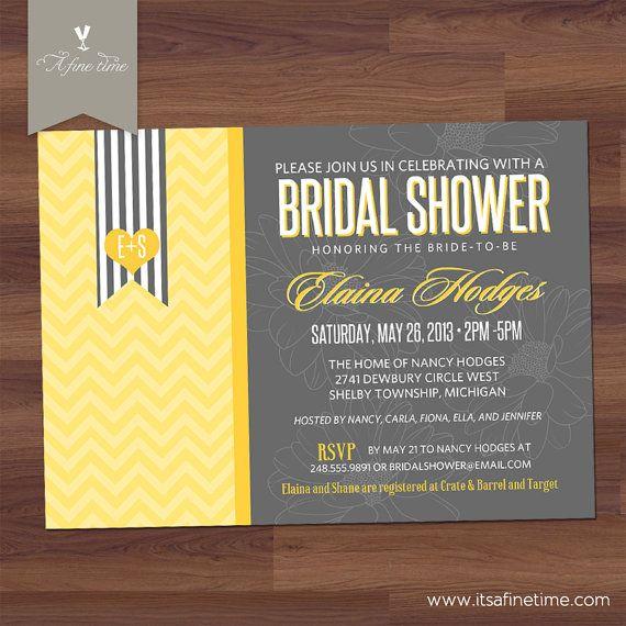 Bridal shower invitation or baby shower invitation for Yellow bridal shower invitations