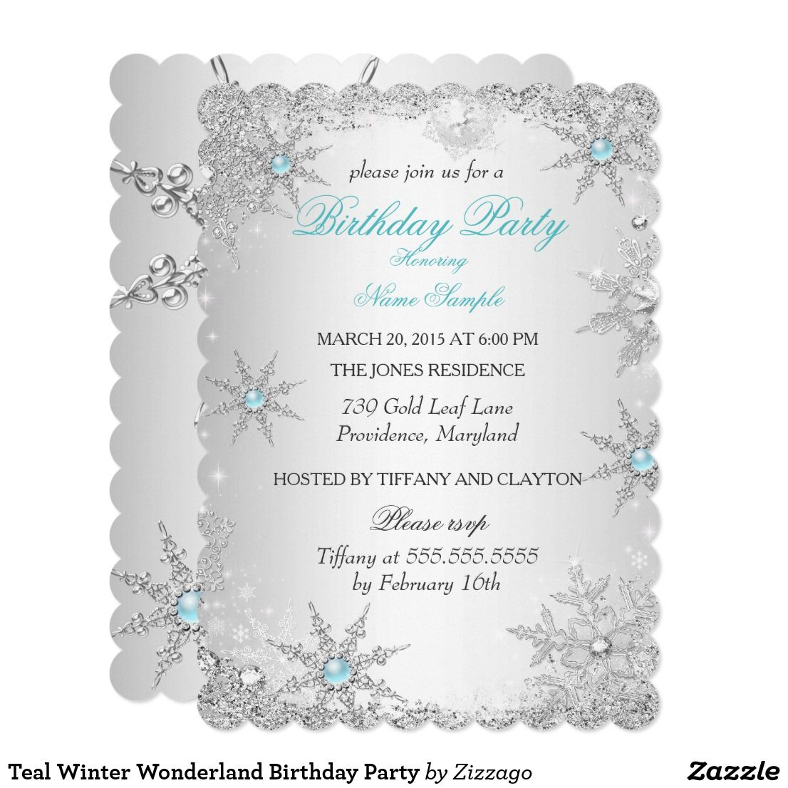 Teal winter wonderland birthday party invitation happy birthday teal winter wonderland birthday party card teal blue birthday party invitation silver sparkle pearl jewel snowflake design customize with your own details filmwisefo