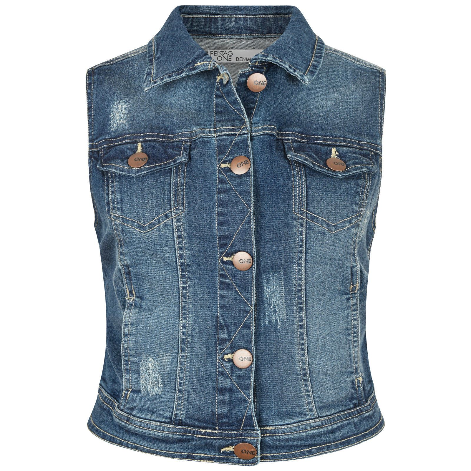 Ladies Denim Vest Women Girls Jacket Faded Sleeveless Jeans Top ...