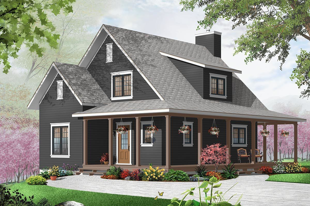 Plan 21829dr Three Sided Covered Porch Farmhouse Cottage Plans Cottage Style House Plans Cottage Plan