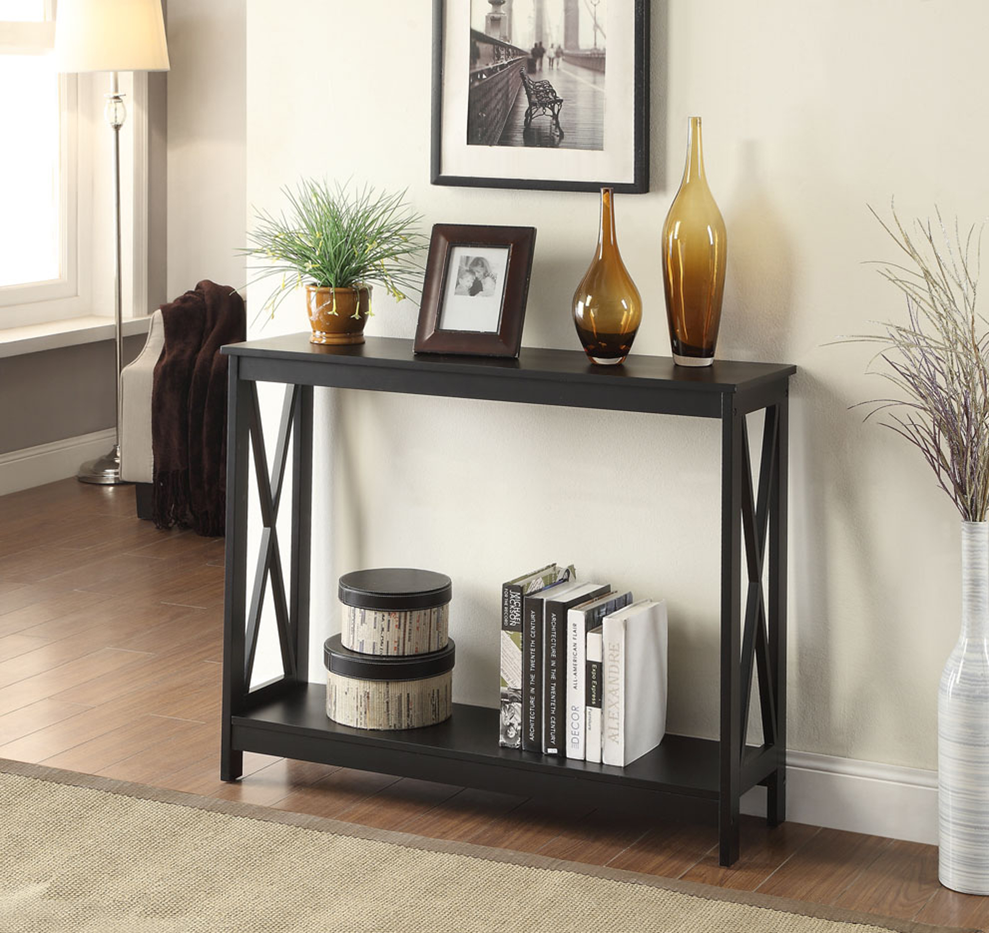 Free 2 Day Shipping Buy Convenience Concepts Oxford Console Table Black At Walmart Com In 2020 Console Table Convenience Concepts Furniture