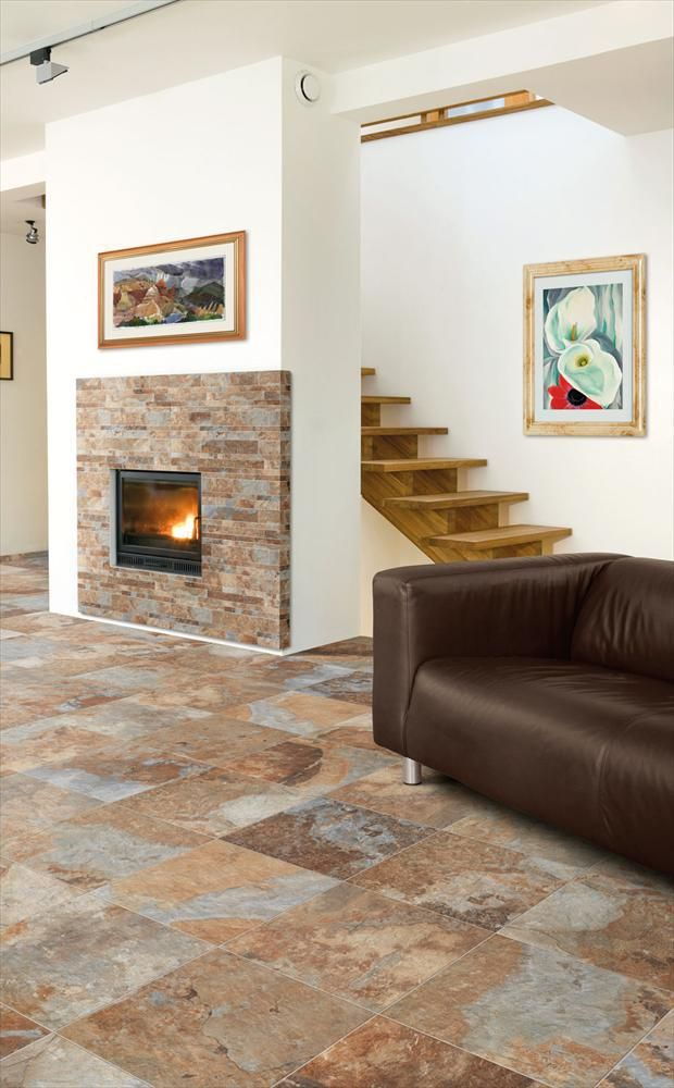 Builddirect Italian Porcelain Tile Slate Series Multicolor Living Room View Arizona
