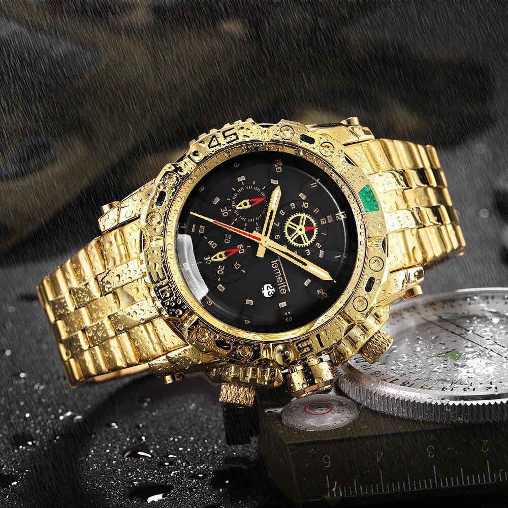 Temeite Kreative Goldene Männer Quarz Armbanduhren 3d Zifferblatt Design Voller Stahl Kalender Wasserdichte Große U Luxus Uhren Wasserdichte Uhren Uhren Kaufen