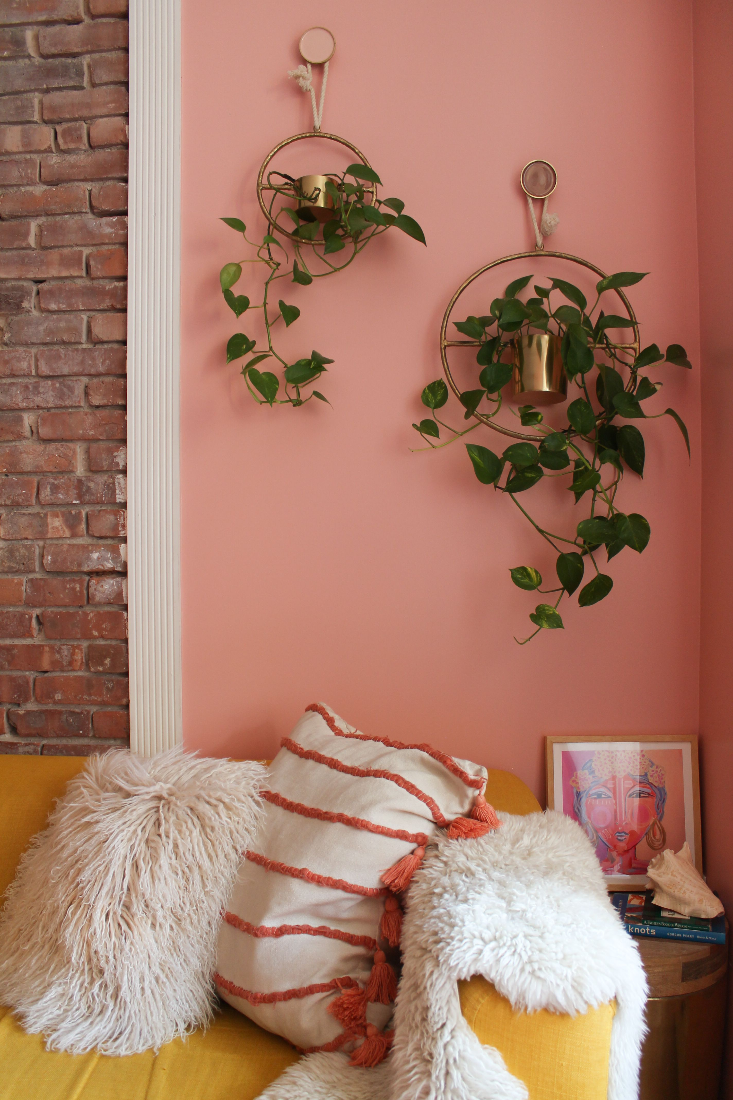Brighten Up Your Living Room With A Warm Pink Hued Paint Color In 2020 Pink Living Room Decor Pink Living Room Walls Wall Painting Living Room #peach #living #room #decor