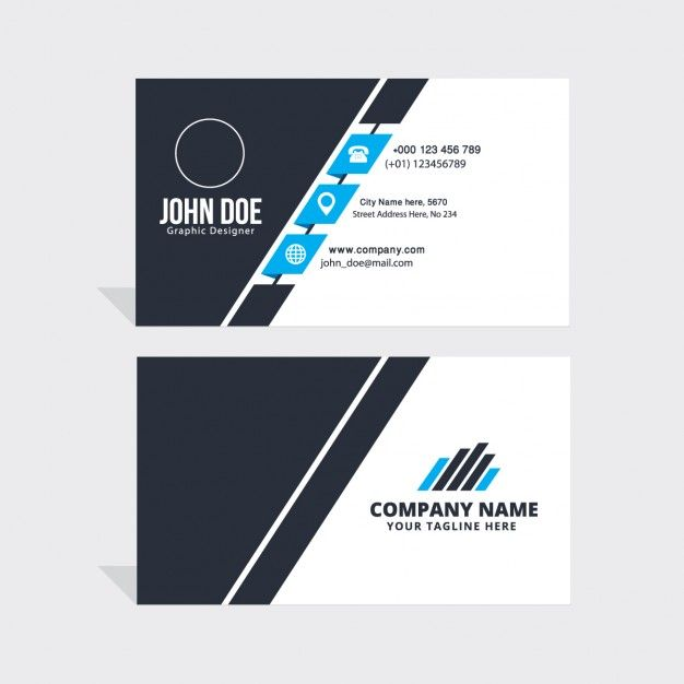 Simple blue black and white business card free vector diseo simple blue black and white business card free vector wajeb Gallery