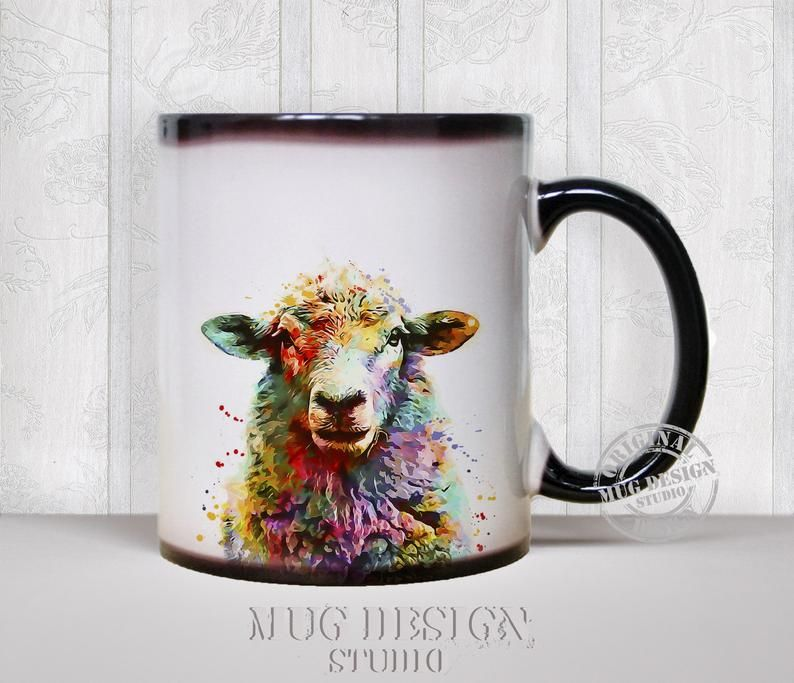 Sheep Mug Sheep Watercolor Color Changing Mug Coffee Mug Etsy