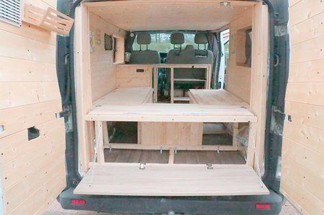 bett im camper einbauen wohnmobil pinterest vw campingbus bett stauraum und steig ein. Black Bedroom Furniture Sets. Home Design Ideas