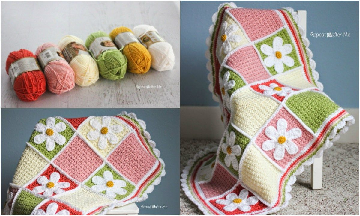 Easy] Summer Crochet Daisy Afghan – Free Pattern | baby quilts ...
