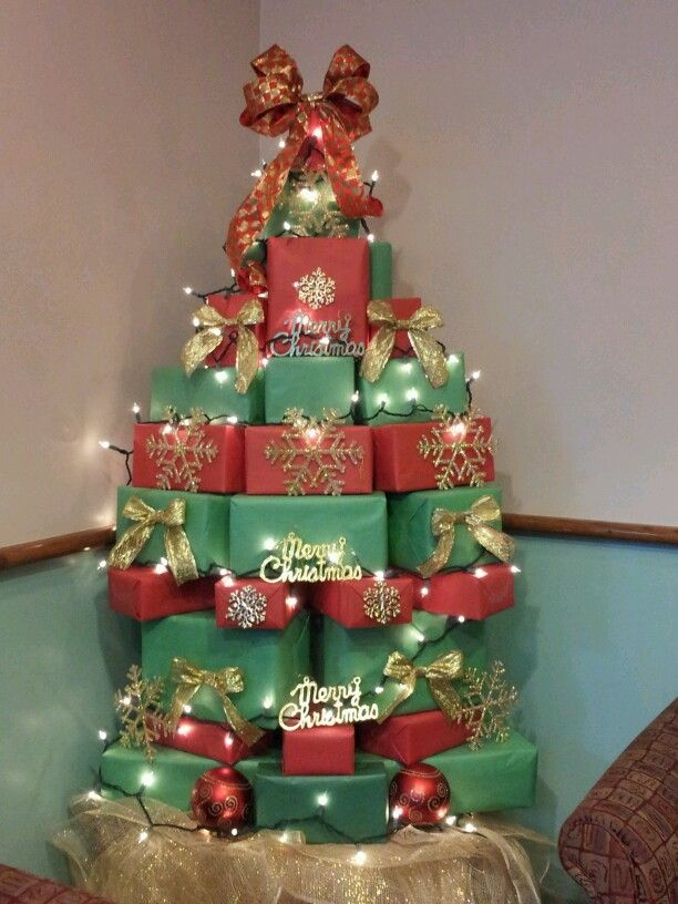Christmas tree made from stacked boxes