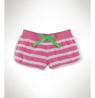 Ralph Lauren Childrenswear Girls' 7-16 Tropic Pink Striped Terry Shorts
