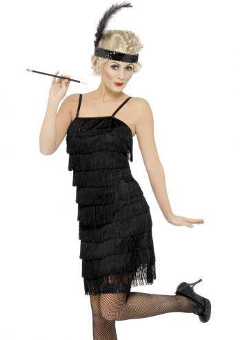 a615179e9eca66 Dit Charleston jurkje is een zwart jurkje met zwarte fringes. Dit Flapper  jurkje in Charleston