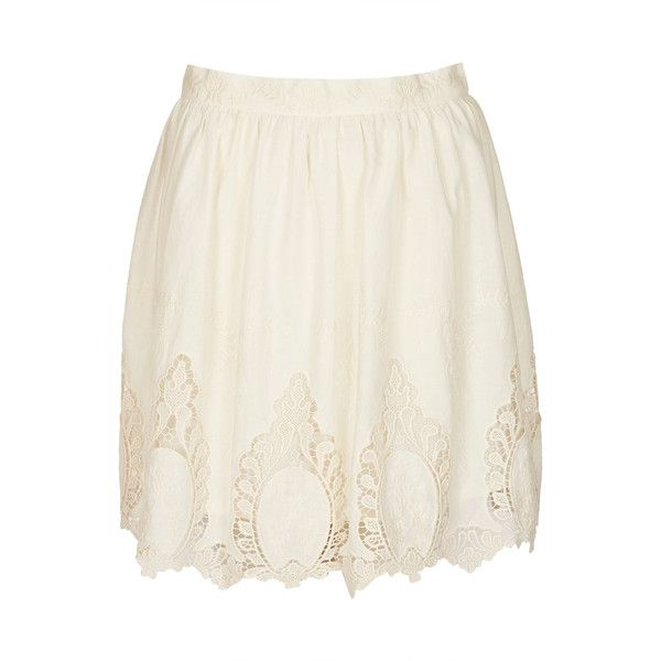 TOPSHOP Cream Cutout Lace Skater Skirt ($72) found on Polyvore