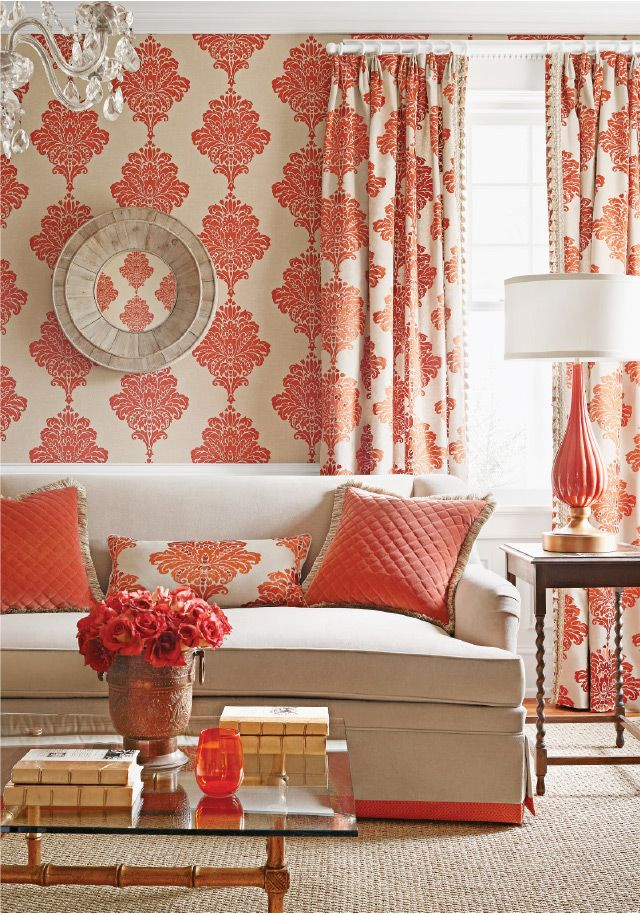 Arturo Damask Wallpaper by Thibaut from Sheffield Furniture & Interiors