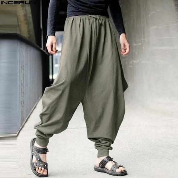 Mens Casual Baggy Harem Pants Cotton Wide Leg Loose Cropped Trousers Plus Size