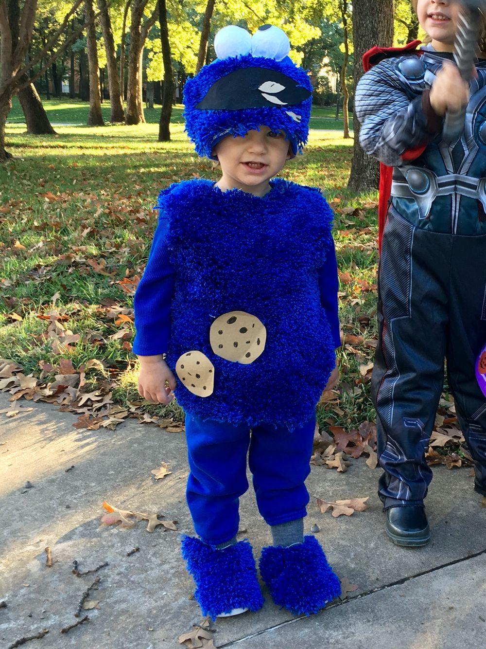 Diy Toddler Cookie Monster Costume Made With Blue Sweat Pants Blue Long Sleeve Shirt Cookie Monster Costume Toddler Cookie Monster Costume Monster Costumes